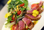 Seared Tuna Over Raw Vegetables