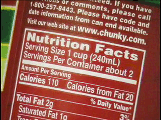 Serving Size, Calories and Total Fat